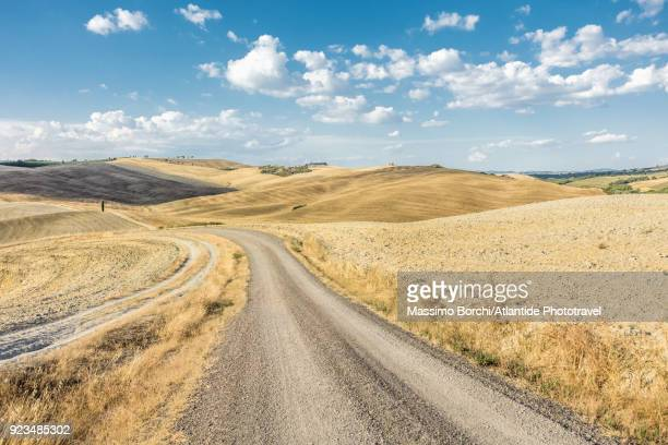 val d'orcia, orcia valley, landscape with a dirt road at summer time - collina foto e immagini stock