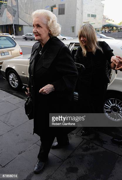 Val Jellay arrives at the State Funeral for veteran Australian actor Charles William 'Bud' Tingwell who died last Friday of cancer aged 86 at St...