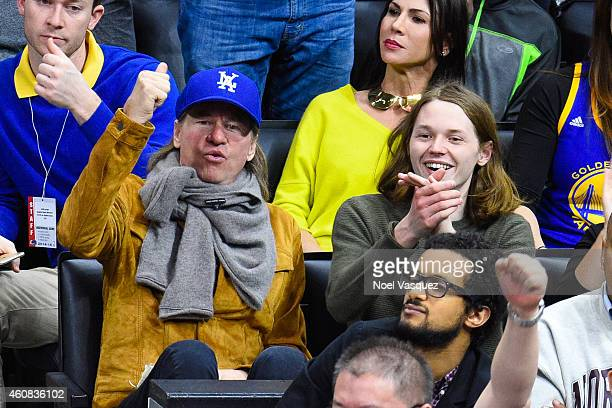 Val Kilmer and his son Jack Kilmer attend a basketball game on Christmas between the Golden State Warriors and the Los Angeles Clippers at Staples...