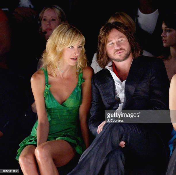 Val Kilmer and Kat Mack during Olympus Fashion Week Spring 2005 BCBG Front Row and Backstage at Theater Tent Bryant Park in New York City New York...