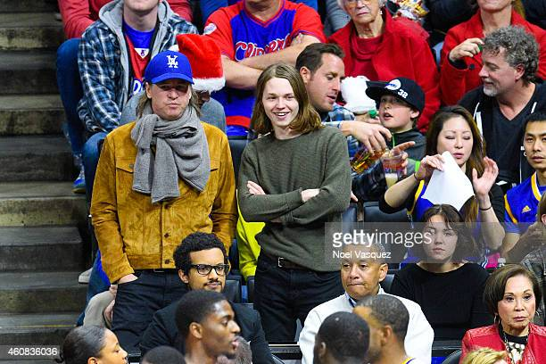 Val Kilmer Jack Kilmer and Mercedes Kilmer attend a basketball game on Christmas between the Golden State Warriors and the Los Angeles Clippers at...