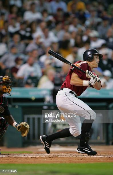 Val Majewski of the USA team hits against the World team during the Major League Baseball Futures Game at Minute Maid Park on July 11, 2004 in...