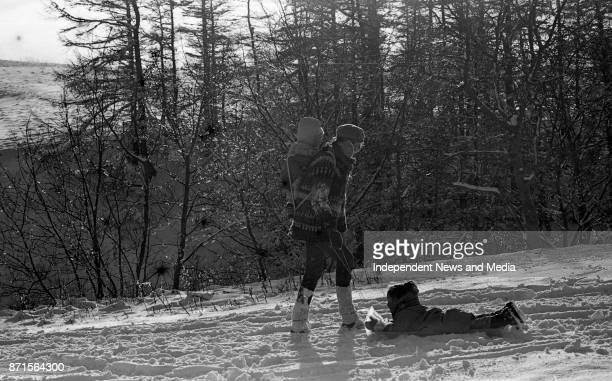 Val Stanley and her son Aengus Stanley gives a sleigh ride to Helen Feeney circa January 1988