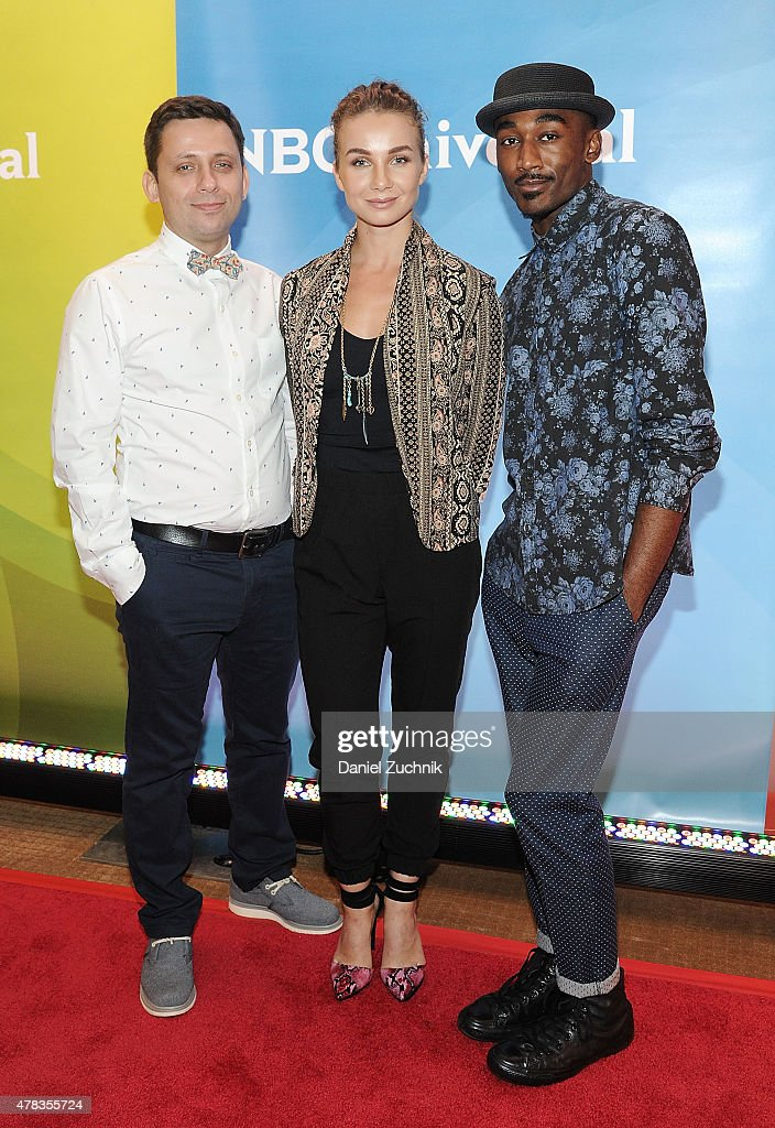 Val Syganevich, Olga Popova and Jalen Preston attend the 2015 NBC New York Summer Press Day at Four Seasons Hotel New York on June 24, 2015 in New York City.