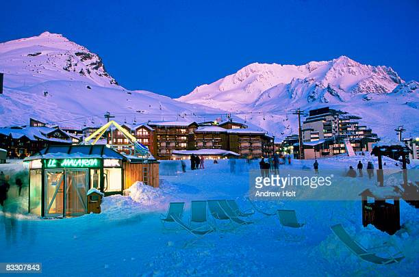 Val Thorens ski resort in Alps at night, France