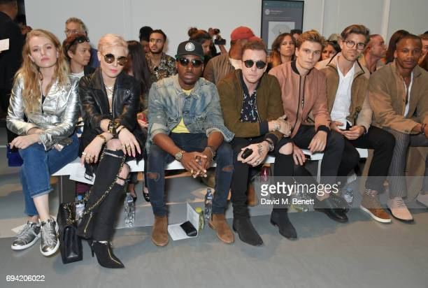 Vala Noren Noomi Rapace Azuka Ononye Danny Jones Oliver Cheshire Darren Kennedy and Eric Underwood attend the Oliver Spencer SS18 Catwalk Show during...