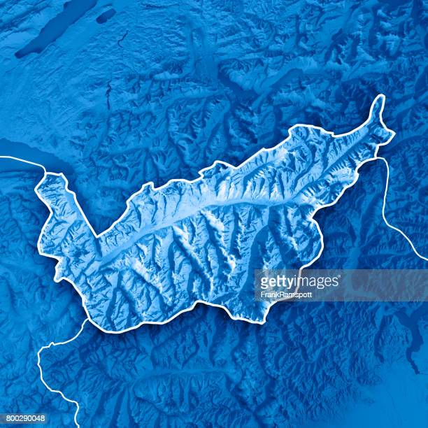 Valais Canton Switzerland 3D Render Topographic Map Blue Border