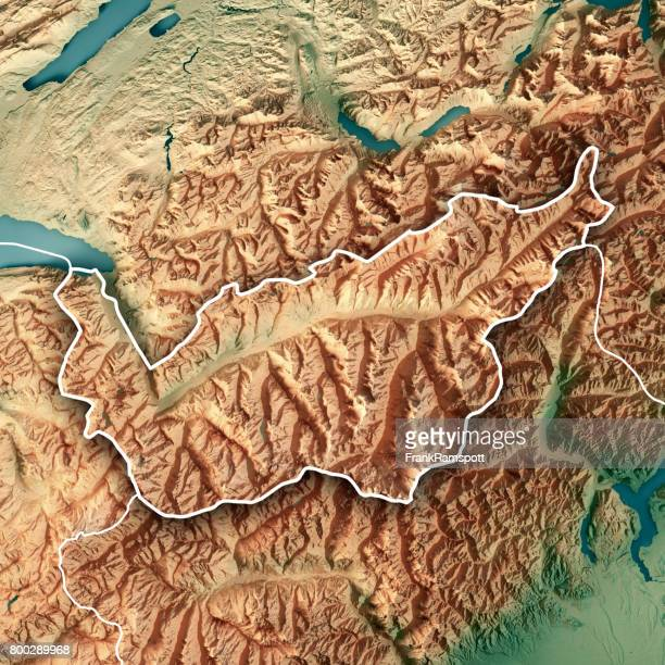 Valais Canton Switzerland 3D Render Topographic Map Border