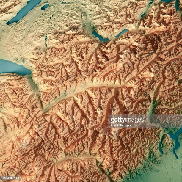 Valais Canton Switzerland 3D Render Topographic Map