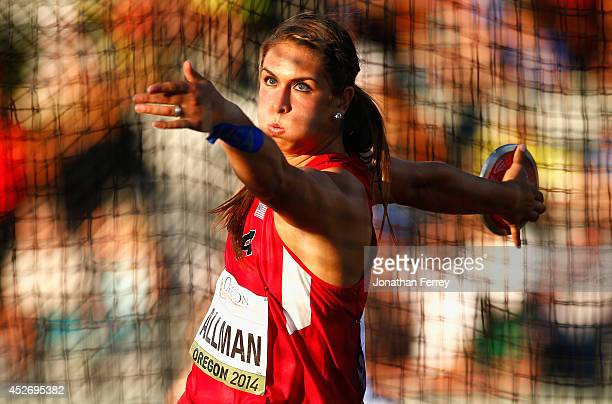 Valarie Allman of the US competes in the women's discus final during day four of the IAAF World Junior Championships at Hayward Field on July 25 2014...
