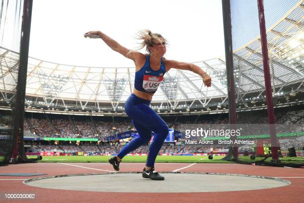 Valarie Allman of USA competes in the women's discus during Day Two of the Athletics World Cup 2018 at London Stadium on July 15, 2018 in London,...