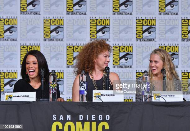 Valarie Pettiford Alex Kingston and Teresa Palmer speak onstage during the A Discovery of Witches panel during ComicCon International 2018 at San...