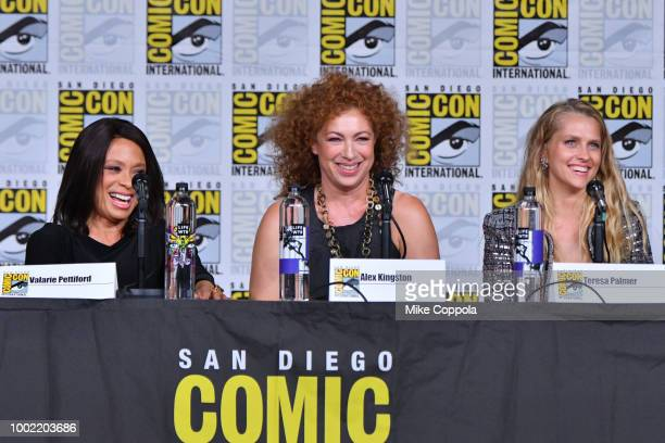 Valarie Pettiford Alex Kingston and Teresa Palmer speak onstage during the 'A Discovery of Witches' panel during ComicCon International 2018 at San...