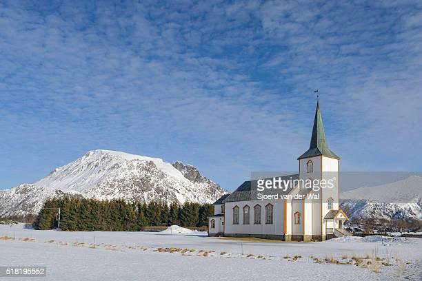 "valberg church in vestvagoy  in the lofoten archipel in norway during winter - ""sjoerd van der wal"" stock pictures, royalty-free photos & images"