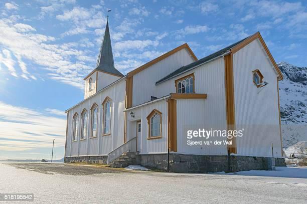 "valberg church in vestvågøy  in the lofoten archipel in norway during winter - ""sjoerd van der wal"" stock pictures, royalty-free photos & images"