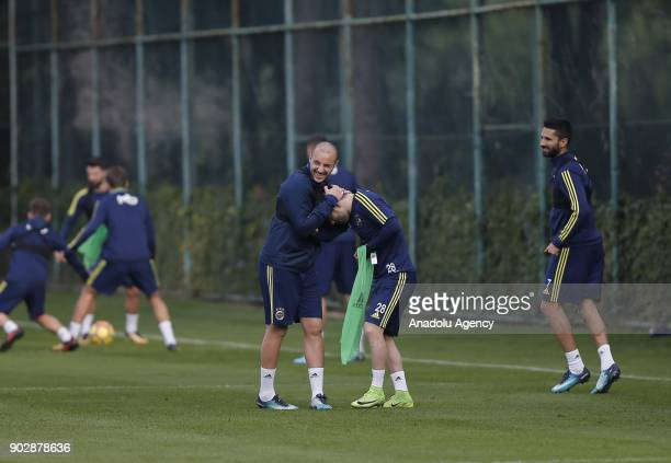 Valbuena and Chahechouhe of Fenerbahce attend a training session ahead of the second half of Turkish Super Lig at Belek Tourism Center in Serik...