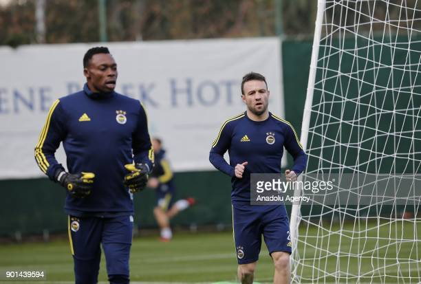 Valbuena and Kameni of Fenerbahce attend a training session ahead of the 2nd half of Turkish Super Lig at Belek Tourism Center in Serik district of...