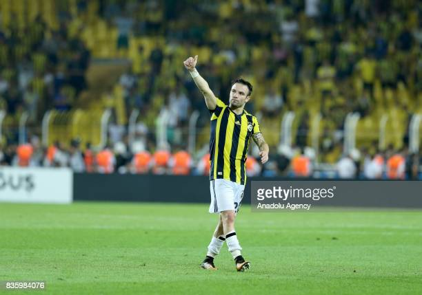 Valbuena of Fenerbahce greets the fans after Turkish Super Lig soccer match between Fenerbahce and Trabzonspor at the Ulker Stadium in Istanbul...