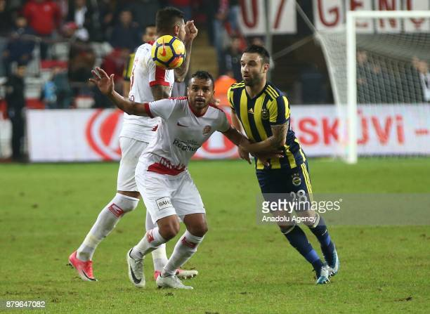 Valbuena of Fenerbahce in action against Charles of Antalyaspor during the Turkish Super Lig match between Antalyaspor and Fenerbahce at Antalya...