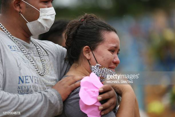 Valcione Soares and Vitor Soares mourn their Grandmother Enedina Soares a victim of COVID19 during her burial at the Nossa Senhora cemetery in Manaus...