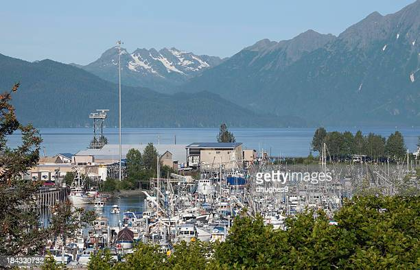 Valdez' Small Boat Harbor and beautiful mountains in background.