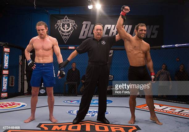 Valdir Araujo celebrates his submission victory over Steve Carl during the filming of The Ultimate Fighter American Top Team vs Blackzilians on...