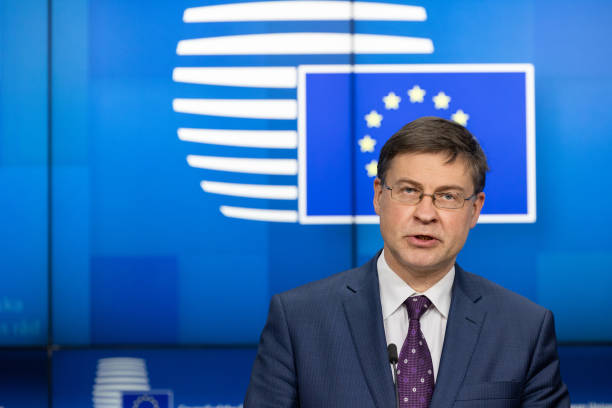 BEL: EU Commissioner For Trade Dombrovskis Delivers Press Conference After Videoconference With Economic And Finance Ministers