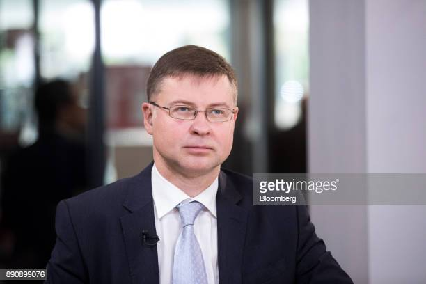 Valdis Dombrovskis vice president of the European Commission pauses during a Bloomberg Television interview at the One Planet Summit in Paris France...