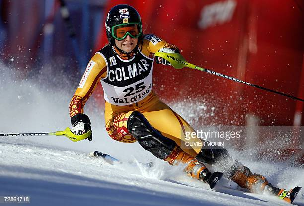 Vald'Isere FRANCE Canada's Brigitte Acton clears a gate during the first run of the World Cup Alpine skiing slalom race in Val d'Isere French Alps 21...