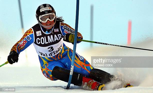 Vald'Isere FRANCE Sweden's Anja Paerson clears a gate during the first run of the World Cup Alpine skiing slalom race in Val d'Isere French Alps 21...