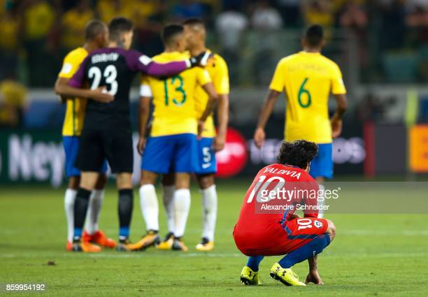 Valdivia of Chile reacts after losing the match between Brazil and Chile for the 2018 FIFA World Cup Russia Qualifier at Allianz Parque Stadium on...