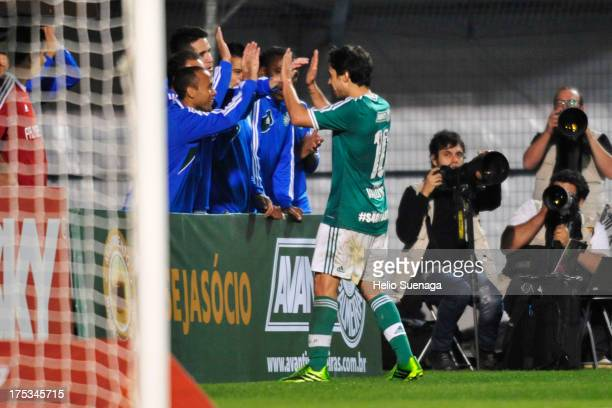 Valdivia of Palmeiras celebrates a scored goal during the match between Palmeiras and Bragantino for the Brazilian Championship Serie B 2013 at...