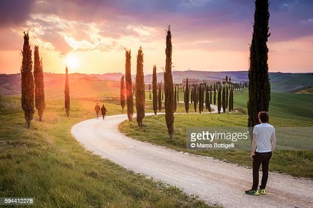 Valdorcia, Siena, Tuscany, Italy. Man wathing a couple walking on a road of cypresses to a farm with a stormy sunset in the background.