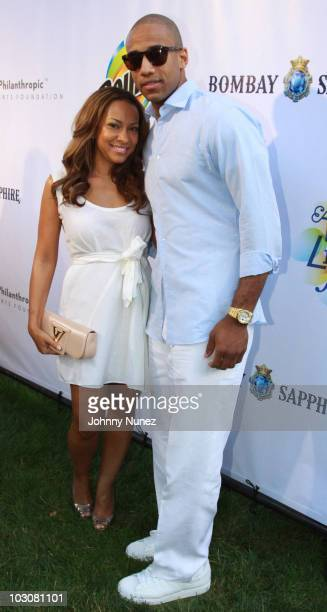 Valeisha Butterfield and Dahntay Jones attend the 11th annual Art For Life benefit party at Russell Simmons' East Hampton Estate on July 24 2010 in...