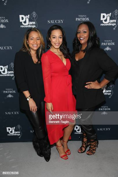 Valeisha Butterfield Jones Angela Rye and Kristi Henderson attend as Def Jam Recordings Celebrates the Holidays with Patron Tequila at Spring Place...