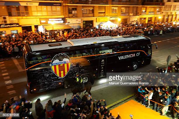 Valencia CF bus arrive prior the La Liga match between Valencia CF and Real Madrid CF at Estadi de Mestalla on January 03, 2016 in Valencia, Spain.