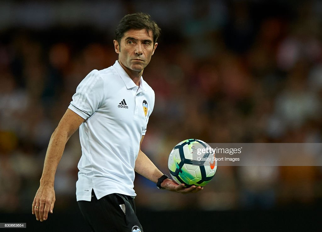 Valencia CF manager Marcelino Garcia Toral reacts during the pre-season friendly match between Valencia CF and Atalanta BC at Estadio Mestalla on August 11, 2017 in Valencia, Spain.