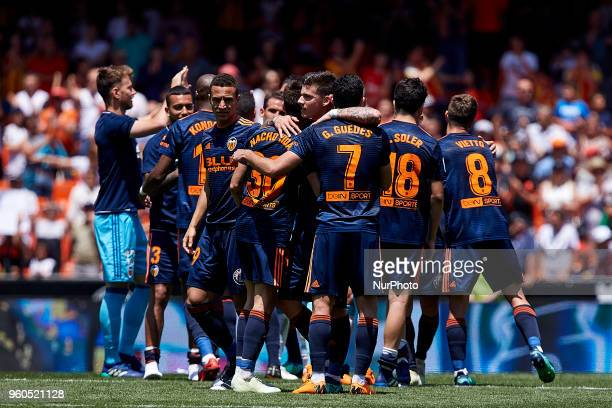 Valencia CF players celebrate the victory and the UEFA Champions League position for next year competition during the La Liga game between Valencia...