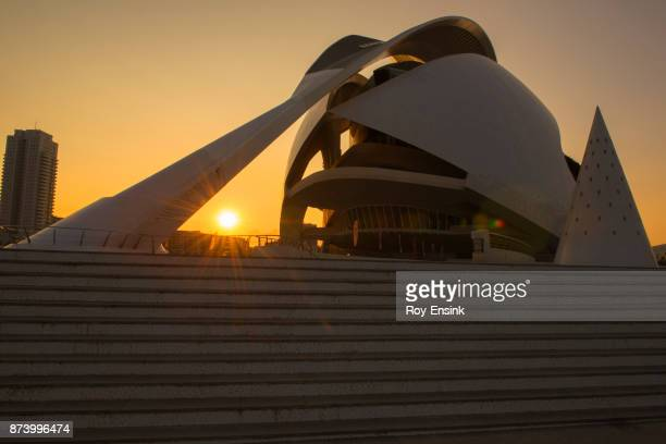 valencia city opera - zonsopgang stock pictures, royalty-free photos & images