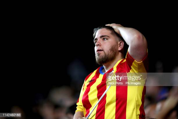 A Valencia fan appears dejected in the stands during the UEFA Europa League Semi Final Second Leg at the Camp de Mestalla Valencia