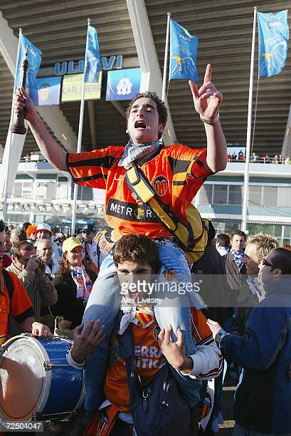Valencia fans get into the spirit before the UEFA Cup Final match between Valencia and Olympique De Marseille at the Ullevi Stadium on May 19 2004 in...