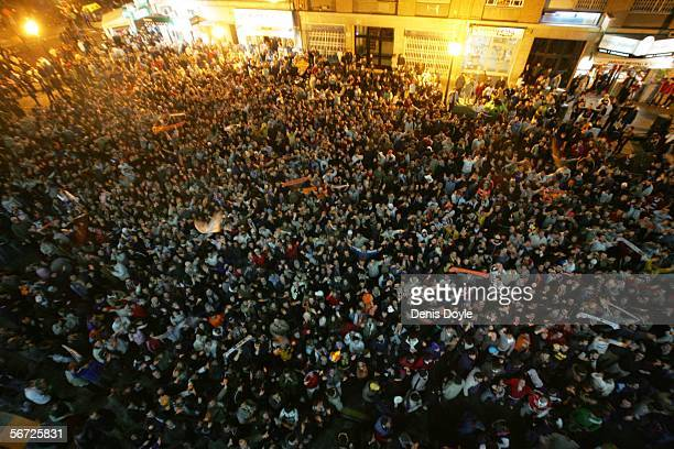 Valencia fans vent their anger outside the Mestalla stadium after their team lost 10 to Deportivo la Coruna in a Copa del Rey quarterfinal 2nd leg...