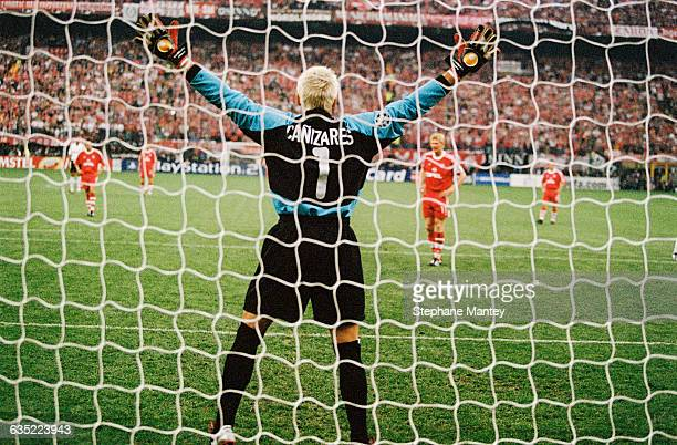 Valencia goalkeeper Santiago Canizares prepares to stop a penalty during the 20002001 Champions League final