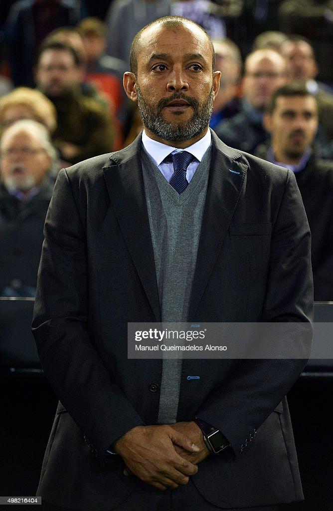 Valencia manager Nuno Espiritu Santo looks on prior to the La Liga match between Valencia CF and UD Las Palmas at Estadi de Mestalla on November 21, 2015 in Valencia, Spain.