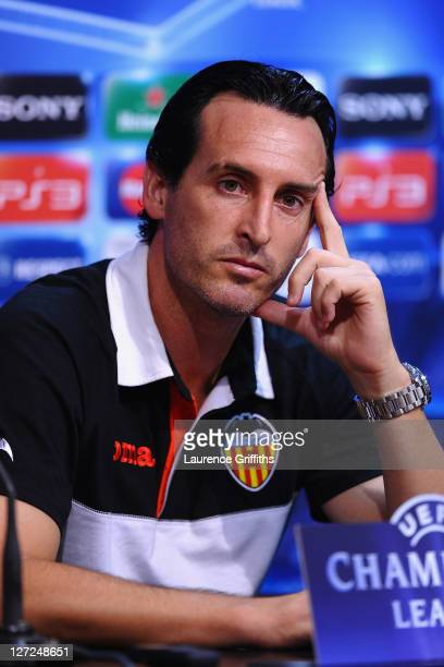 Valencia manager Unai Emery looks thoughtful during a press conference ahead of the UEFA Champions League Group E match between Valencia CF and...