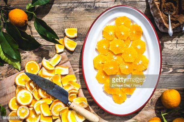 Valencia Oranges, sliced in the sun, before cinnamon.