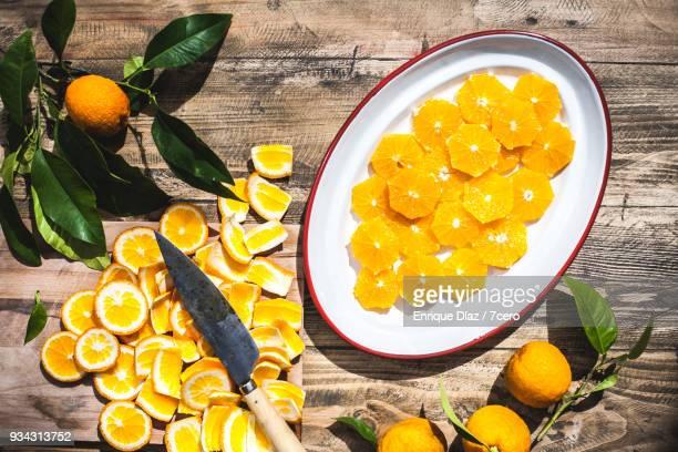 Valencia Oranges, sliced in the sun