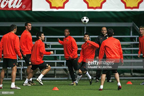 Valencia players attend a training session in the Abra Hall in Trondheim on November 27 2008 ahead of their UEFA Cup meeting with Rosenborg at...