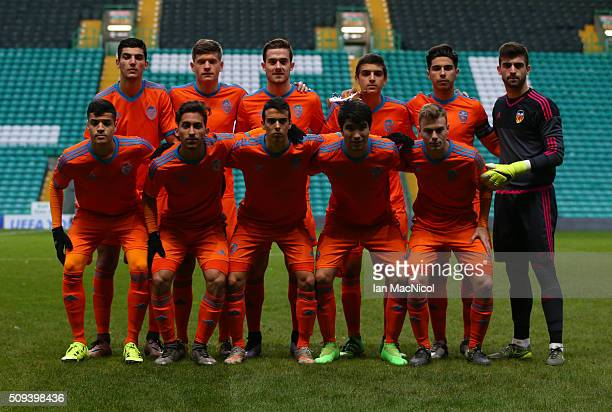 Valencia pose for a team photo during the UEFA Youth Champions League match between Celtic and Valencia at Celtic Park on February 10 2016 in Glasgow...