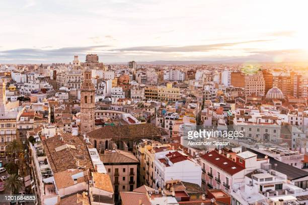 valencia skyline at sunset, aerial view, spain - valencia fotografías e imágenes de stock